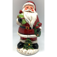 Christmas Ceramic Santa LED and Music Decoration 34cm Approx