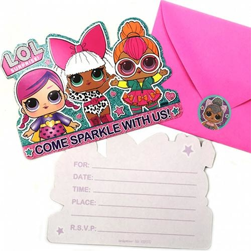 Lol Surprise Party Supplies Lol Dolls Party Invitations 8 Pack