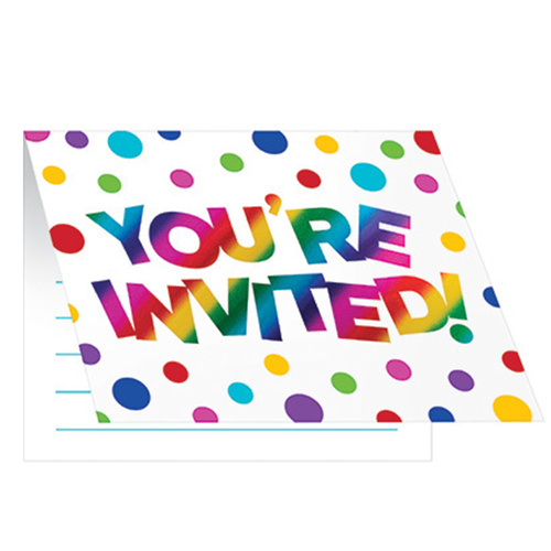Rainbow Party Supplies Rainbow Foil Invites 8 Pack