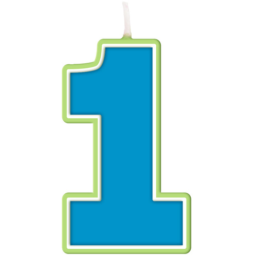 1st Birthday Boy Party Supplies Blue Number 1 Candle