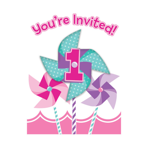 Turning One Girl Invitations 8 Pack