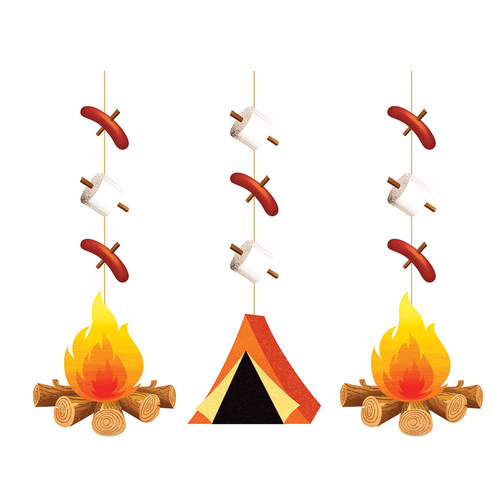 Camp Out Party Supplies - Hanging Cutouts 3 pack