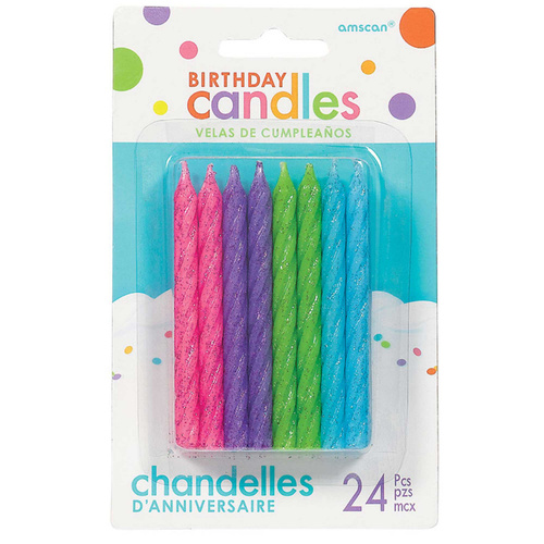 Birthday Party Supplies Spiral Glitter Candles Pink Blue Green Purple 24 Pack